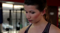 Closeup shot of self-confident beautiful woman training in gym, sports workout - stock footage
