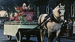 Calais 1956: floats parade during carnival - stock footage