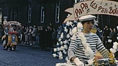 Calais 1956: floats parade during carnival Stock Footage