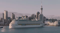 Cruise Ship Explorer of the Seas arrives in port, Auckland, New Zealand Stock Footage