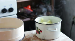 Woman Preparing Mashed Potatoes in the Home Kitchen Stock Footage