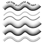 Collection of vector halftone pattern  brushes Stock Illustration