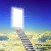 Stairway leading up to bright light - stock illustration