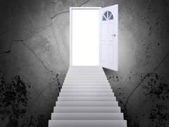 Stairway leading to door Stock Illustration