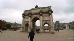 The Triumphal Arch (de Triomphe du Carrousel) in front of the Louvre museum, - stock footage