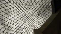 The ceiling glass pyramid at the Louvre museum in Paris. France. 4K. Stock Footage