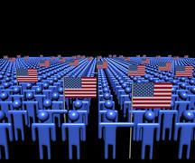 Crowd of abstract people with many American flags illustration Stock Illustration