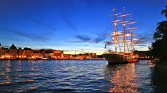 Evening scenery of Stockholm, Sweden Stock Footage