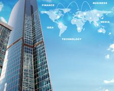 Skyscraper with world map Stock Illustration