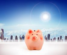 Piggy bank with cityscape - stock illustration