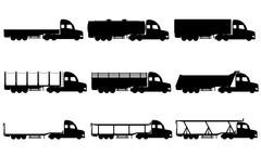 Set icons trucks semi trailer black silhouette vector illustration Piirros