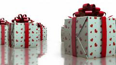 3D Rotating Gift Boxes with Love Hearts in White Background - stock footage