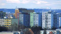 Area of high-rise apartment buildings in city - autumn Stock Footage
