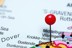 Knokke-Heist pinned on a map of Belgium - stock photo