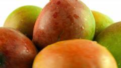 Macro Shot of Rotating Mangoes - White Background Stock Footage