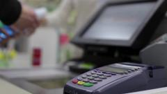 Cashier breaks for goods receipt - stock footage