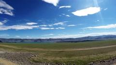 Greeny Mongolean Highland Near Mountains at Big Lake Stock Footage