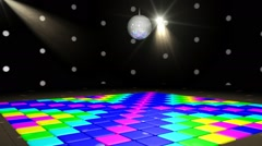 Disco Angle C Spinning Disco Ball and Changing Colored Lights Stock Footage