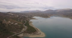 4K Aerial, Flight along a barrier lake in Andalusia, Spain Stock Footage