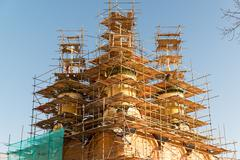 Reconstruction of Cathedral Sign the Mother  God in Moscow, Russia - stock photo