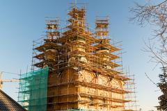 Reconstruction of Cathedral Sign the Mother  God in Moscow, Russia Stock Photos
