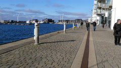 Taking a stroll along the seaside on nice cobblestones Stock Footage