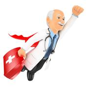 3D Super doctor flying with first aid kit Stock Illustration