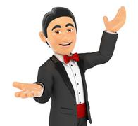 3D Tuxedo man presenting something with their hands up - stock illustration