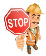 3D Construction worker with a stop signal Stock Illustration