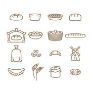 Bread linear icon set. Baking. Bakery products. Muffin and bread. Baton and b Stock Illustration
