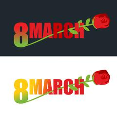 8 March. Red Rose and text. flower grows out of 8 digits. Emblem to celebrate Stock Illustration