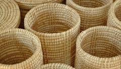 Traditional Hand Woven Baskets in a Public Market. Video 1920x1080 Stock Footage
