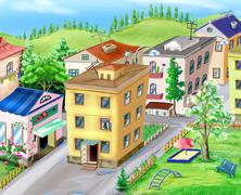 Courtyard View from Above Stock Illustration