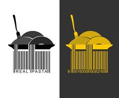 Spaghetti bar code. EAN-13 barcode pasta. Creative mark for packaging pasta.  - stock illustration