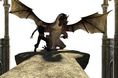 Big strong dragon with wings fighting with a person - stock illustration