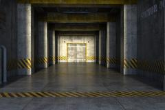 long secret corridor with columns and a lift at the end - stock illustration