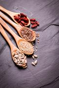mix nuts seeds and dry fruits,healthy superfood,vegan food - stock photo