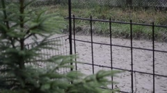 Floods caused by heavy rain, water stream flowing through gardens and orchards Stock Footage