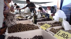 Stall with olives of all varieties to a peasant market Stock Footage