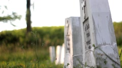 White stone crosses in a cemetery of unknown heroes Stock Footage