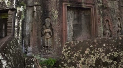 Intricate Stone Sculptures at Ancient Cambodian Temple Ruin. FullHD video Stock Footage