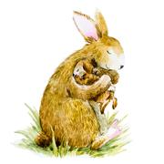 Watercolor rabbit with baby - stock illustration