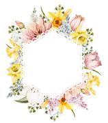 Watercolor spring floral frame - stock illustration