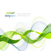 Green abstract modern wavy vector background - stock illustration