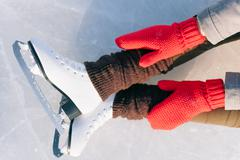 Tilted blue version, ice skates with reflection Stock Photos