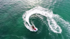 Jet ski pursue aerial view Stock Footage
