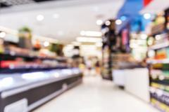 Blurred supermarket Stock Photos