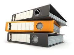 File folders or ring binders full with office documents. - stock illustration