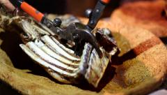 Man carving ribs of roasted meat on a cork tray  in Sardinia, Italy. - stock footage