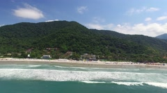 Aerial view of Juquehy Beach, Sao Paulo, Brazil Stock Footage